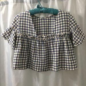 Zara S checkered crop top blue/white, ruffles